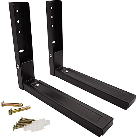 2x Microwave Black Wall Mounting Holder Brackets With Extendable Arms 40kg Screw