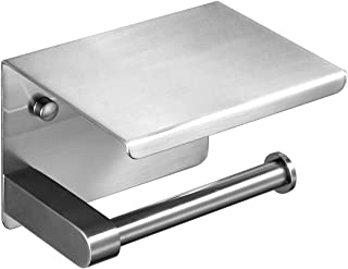 Sagetta Toilet Roll Holder for Bathroom with Cell Phone Storage Shelf Stainless Steel Polished Chrome