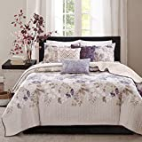Madison Park Quilt Modern Classic Design All Season, Breathable Coverlet Bedspread Lightweight Bedding Set, Matching Shams, Decorative Pillow, King/Cal King(104'x94'), Luna, Floral Taupe, 6 Piece