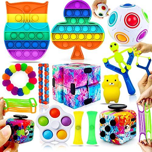 MarckersHome Ensemble de jouets agités Pack de jouets agités con Cube Infini Pousser la bulle 14 Piezas Autismo Alivio del estrés Anti-ansiedad sensorial apretar el Aula Oficina Regalo niños Adultos