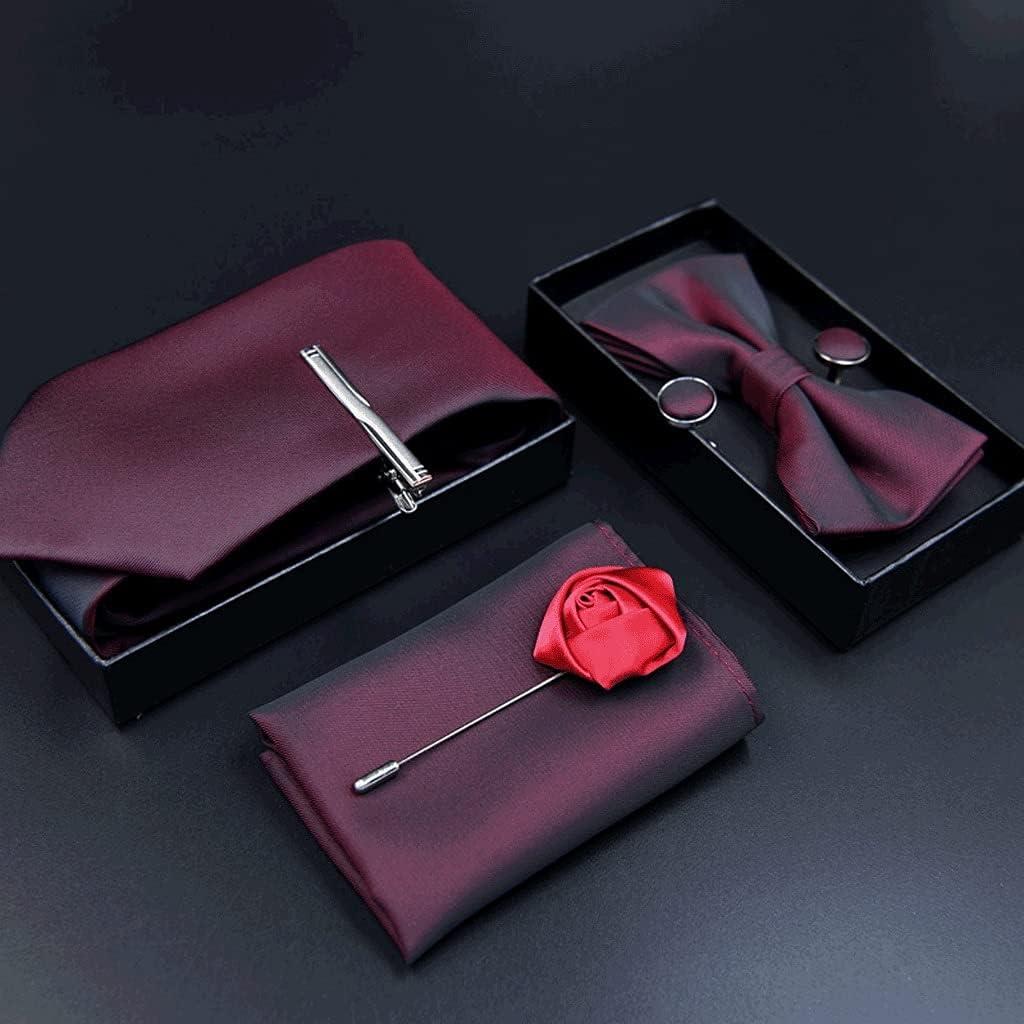 CDQYA 6pcs Tie Set for Man Fashion Mens Ties Set Pocket Square Tie Clip Brooch Formal Dress Necktie Wedding Party Men Gift