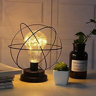 Lámpara de Mesa de Metal,SUAVER Decoration Bombilla Lampara Escritorio,Luz creativa de la noche,Lámparas de mesa Vintage,Bombilla LED decorativa para dormitorio,Bateria cargada (Earth)