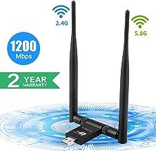 SUPOLA USB WiFi Adaptador 1200Mbps, Antena WiFi USB 3.0 5dBi Adaptador Inalámbrico Dual Band 2.4GHz/5.8GHz 867Mbps, Receptor WiFi USB para PC Sobremesa, Soporte Win7/8/10/XP/Vista/MacOS X 10.6-10.14