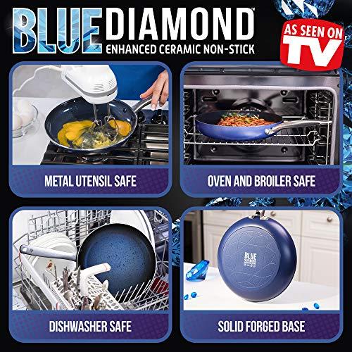 Blue Diamond Cookware 14 Piece Cookware Pots and Pans Set