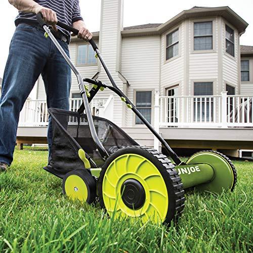 Sun Joe MJ501M 18-Inch Manual Reel Mower w/Grass Catcher, Green/Black