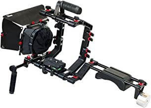 FILMCITY DSLR Camera Shoulder Support Rig Kit with Cage & Matte Box | DV HDV DSLR Video Camcorders Compatible | Free - Offset Z Bracket (FC-02)