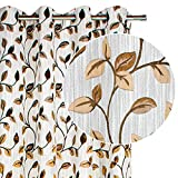 VISTE TU HOGAR Pack 4 de Cortina Decorativa Jacquard Opaca, Moderna y Elegante, para Salón o Dormitorio, 4 Piezas, 150X260 CM, Diseño Floral en Color Marrón.