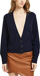 Women's Cashmere Wool Blended Cardigan Sweater Deep V Neck Long Sleeve Cropped Sexy Elegant Knit Button Cardigan