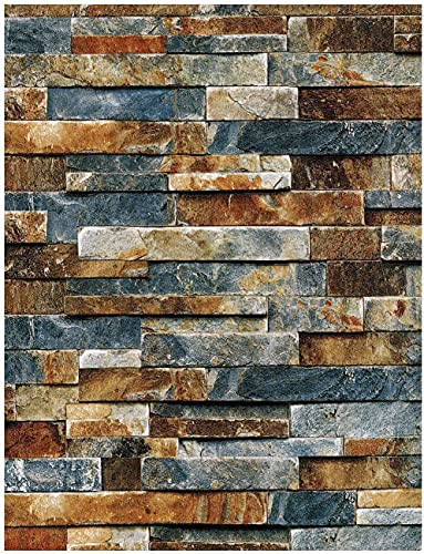 17.7' x 197' Brick Stone Wallpaper Peel and Stick Wallpaper Stone Self Adhesive Removable Wall Paper Kitchen Decoration Waterproof Contact Paper Shelf Drawer Liner Vinyl Film Roll
