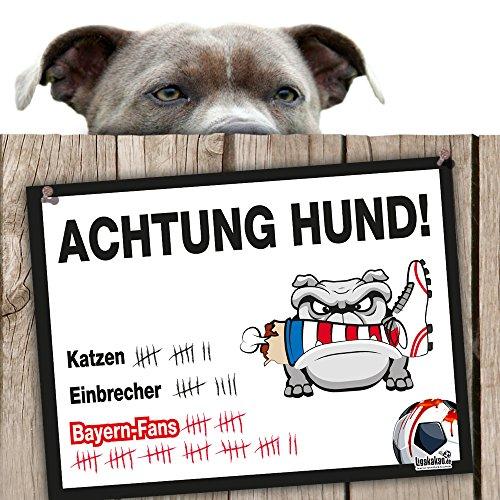 Hunde-Warnschild Schutz vor Bayern-Fans | Dortmund 09-, 1. FC Schalke- & alle Fußball-Fans, Dieser Revier-Markierer schützt Haus & Hof vor Bayern-Fans | Achtung Vorsicht Hund Bissig