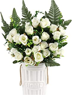 Tamia-Romtic Artificial Silk Rose and Gypsophila Blossom Fillers Mixed Bush for Home Wedding Restaurant Office Cemetery Grave Decoration,White