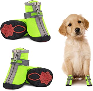Small Dog Shoes Waterproof Protective Dog Boots Set of 4, Dog Puppy Booties Non-Slip Sole Paw Protector with Reflective Straps Pet Dog Shoes Warm for Puppy Small Medium Dogs Walking Outdoor Green 5#