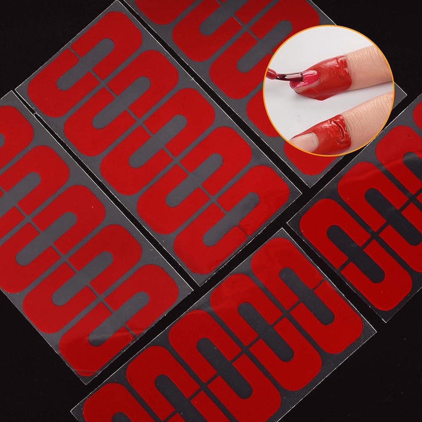 いちゃつく請うりんごhamulekfae-50個使い捨てU字型こぼれ防止ネイルプロテクター弾性指カバーステッカー - 赤50個Red50pcs