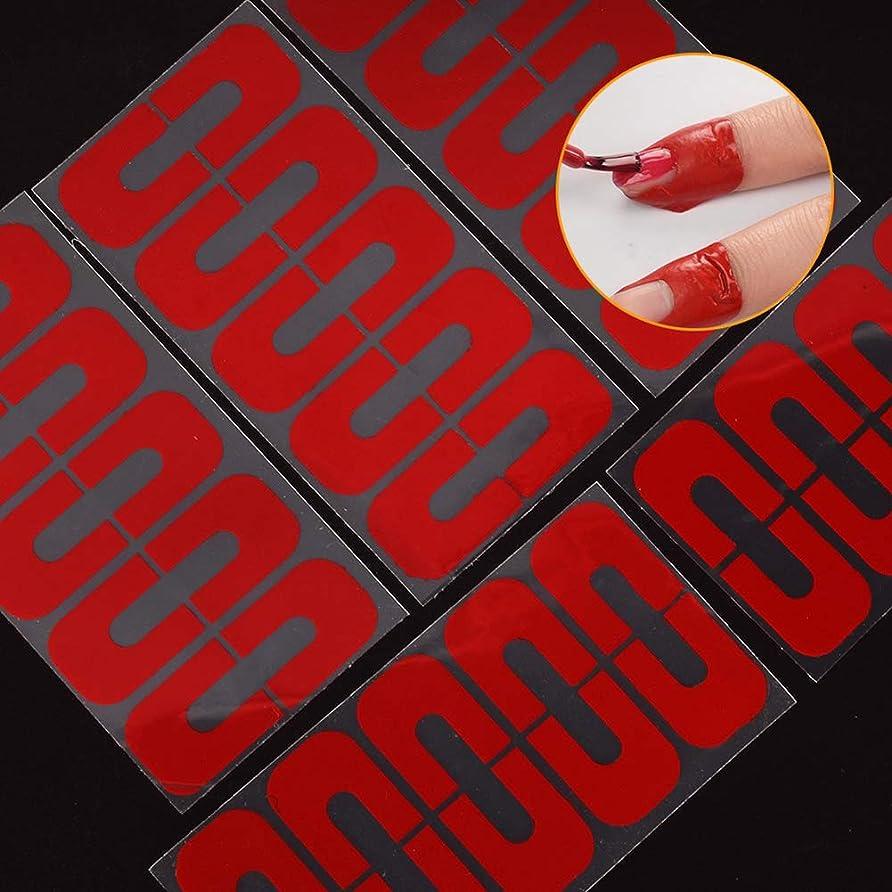 恐れる協力的従事したhamulekfae-50個使い捨てU字型こぼれ防止ネイルプロテクター弾性指カバーステッカー - 赤50個Red50pcs