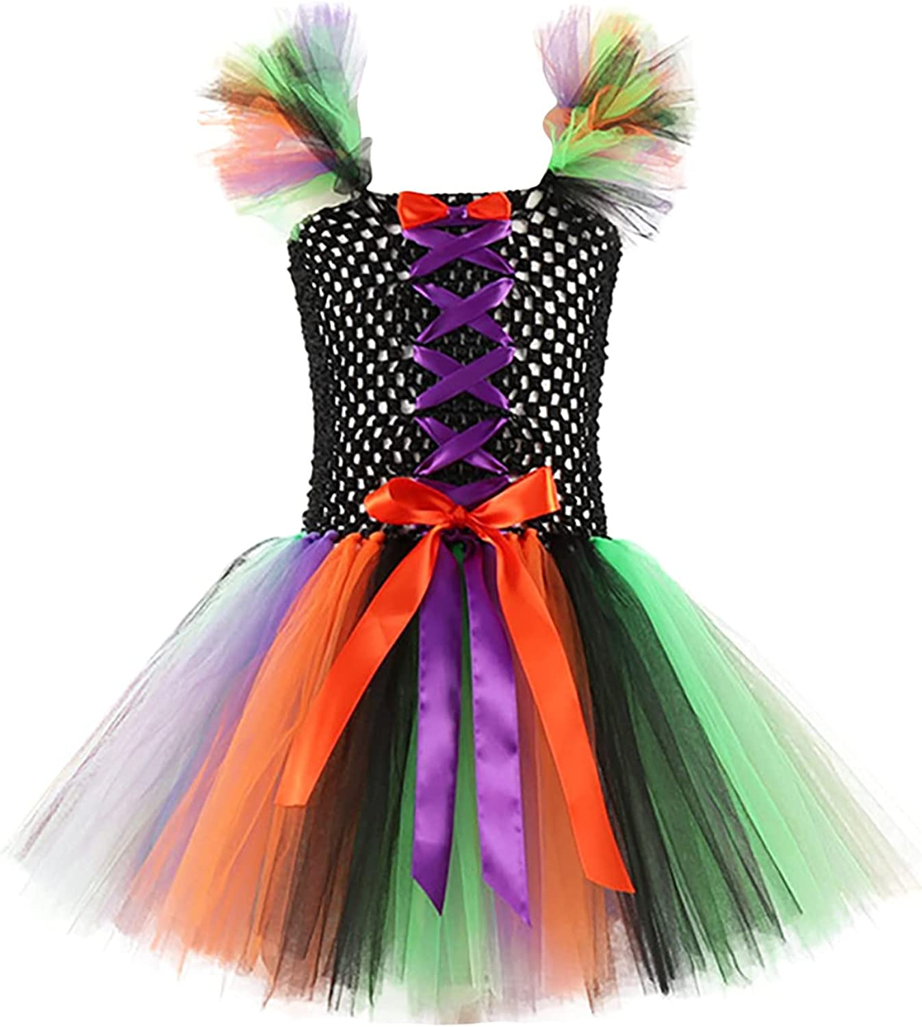 Girls Halloween Cosplay Clothes Witch Mesh Tutu Dress Halloween Dress for Halloween Party