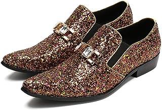 Mr.Zhang's Art Home Men's shoes Lentejuelas Marrones Puntiagudas Zapatos de Hombre Casual de Negocios