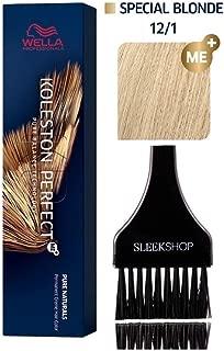 Wella KOLESTON PERFECT ME+ Permanent Creme Haircolor Dye, 2 oz (with Sleek Tint Brush) Perfect Me + Cream Hair Color (12/1 Special Blonde/Ash)