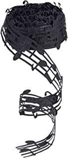 PH PandaHall 10 Yards 30mm Polyester Hollow Cut Out Music Note Ribbon Clothing Trim Accessories for Scrapbooking DIY Gift Wrapping Decoration, Black