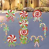 10 Pack Christmas Candy Cane Yard Signs with LED Lights Without Batteries Lollipop Front Back Garden Patio Lawn Topper Winter Holiday Peppermint Green White Red Bows Indoor/Outdoor Xmas Decorations