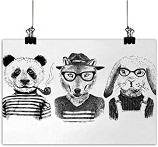 Michaeal AnimalPosters & Prints Hipster Panda Bear Cigar Fox and Rabbit Glasses in Human Clothes IllustrationLiving Room Decorative paintingBlack Grey White W36 x H32