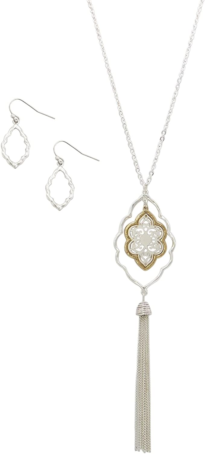 Rosemarie Collections Women's Fashion Jewelry Set Filigree Flower Tassel Necklace