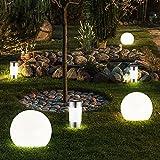 6er Set LED Solar Kugel Steck Lampen Garten Terrassen Beleuchtung Erdspieß Leuchten Edelstahl