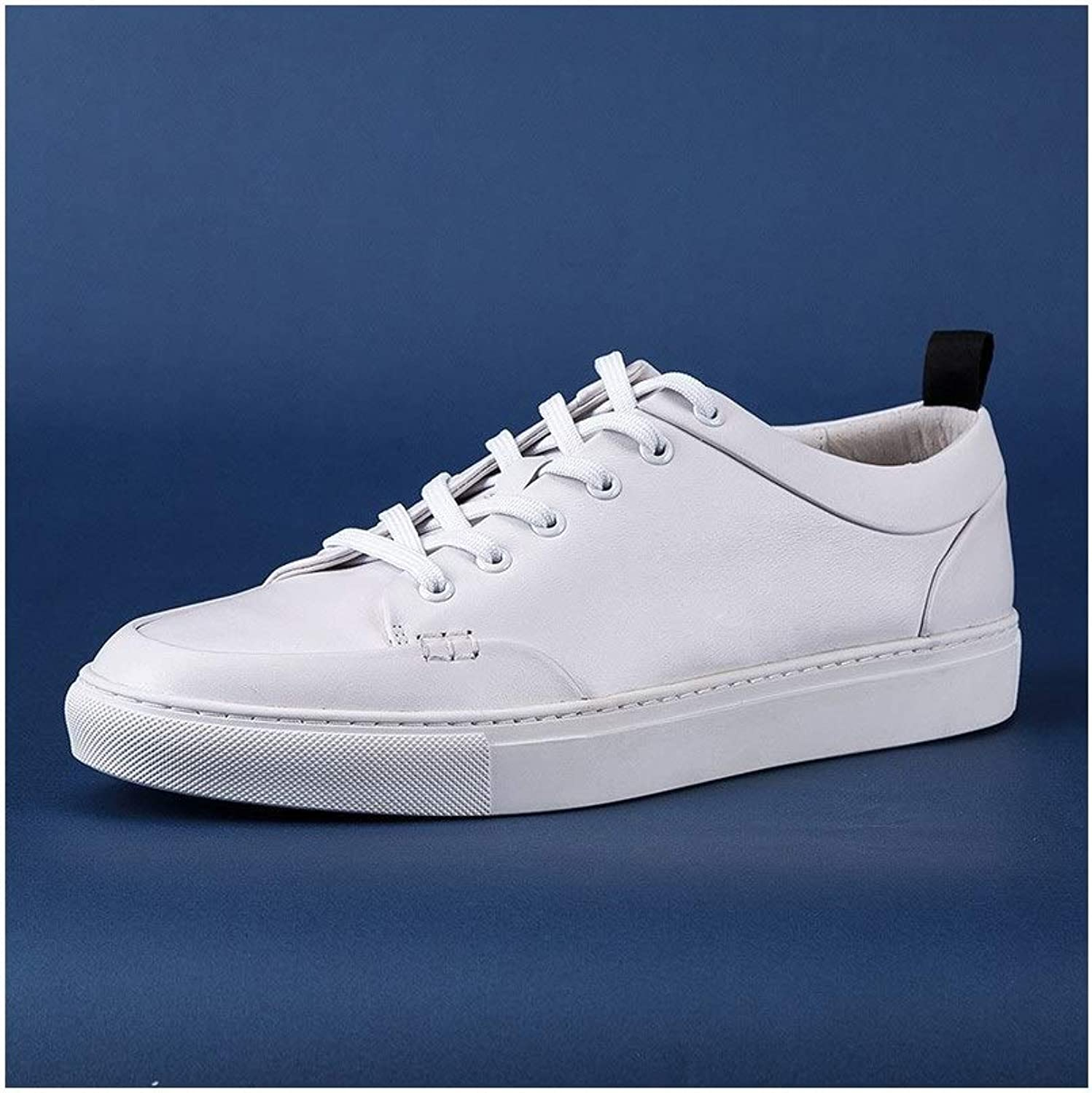 Fashion Men's Leather shoes Trend Wild Casual shoes White shoes Handmade Men's shoes Spring lace Breathable Men's Boots (color   White, Size   7UK)