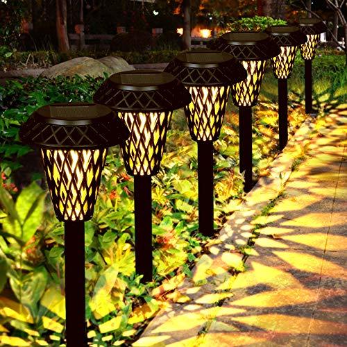 Luces Solars de Jardín GolWof 6 Piezas Led Lámpara Solar Exterior Decoración Iluminación de Caminos Sin Cables Impermeables IP44 Prevención de la Oxidación Recargable Automática Luz Amarilla Cálida