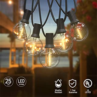 ORAOKO 25Ft Globe String Lights with 25 Clear LED G40 Bulbs, Indoor/Outdoor UL Listed Commercial Décor String Lights for Garden Patio Backyard Porch Pergola Cafe Umbrella Tents Balcony Decks