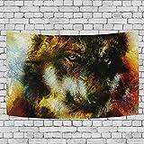jstel Wolf Wandteppich für Dekoration für Wohnung Home Decor Wohnzimmer Tisch Überwurf Tagesdecke Wohnheim 152,4x 101,6cm, Textil, multi, 90x60 inch