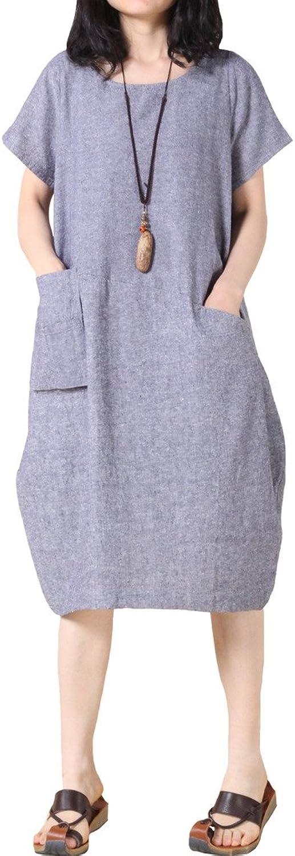 Minibee Women's Cotton Linen Summer Short Sleevle Dress with Pockets