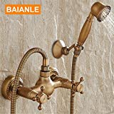 NIHE Rubinetto da doccia in ottone antico a parete rubinetto + rubinetto miscelatore vasca da bagno + doppie maniglie Hand Held kit doccia testa rubinetto doccia