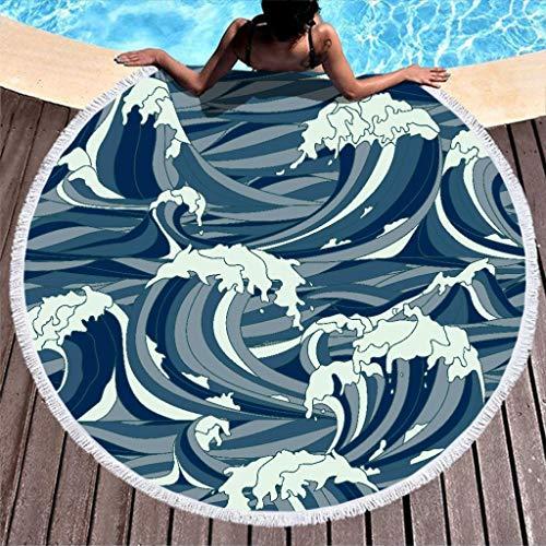 Vrnceit Bunt Stranddecke Roundie Kreis mit Quaste für Frauen White 150cm