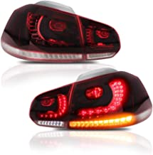 A&K Led Tail Light for VW Volkswagen Golf 6 MK6 GTI R 2010 2011 2012 2013 2014,Rear Lamp Assembly with Sequential Turn Signal Light,Running Light,Brake Light, Both Driver and Passenger Side (Red)