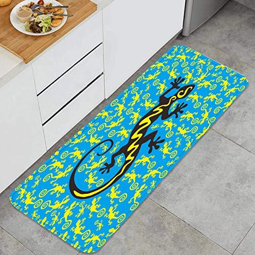YANAIX Juegos de alfombras de Cocina Multiusos,Lagarto exótico Hawaiano Bailando con Muchas Mascotas en el Suelo,Alfombrillas cómodas para Uso en el Piso de Cocina súper absorbentes y Antideslizantes