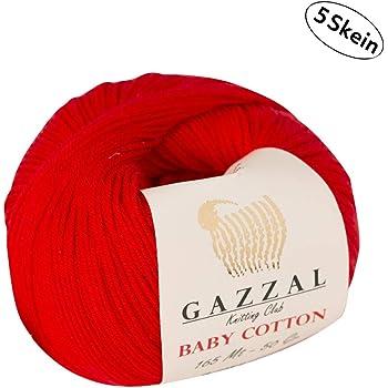 Gazzal Baby Cotton - 5 Ovillos de hilo para tejer 60 % algodón suave y fino para prendas de bebé, madejas de 50 g y 165 m Rojo - 3443: Amazon.es: Hogar