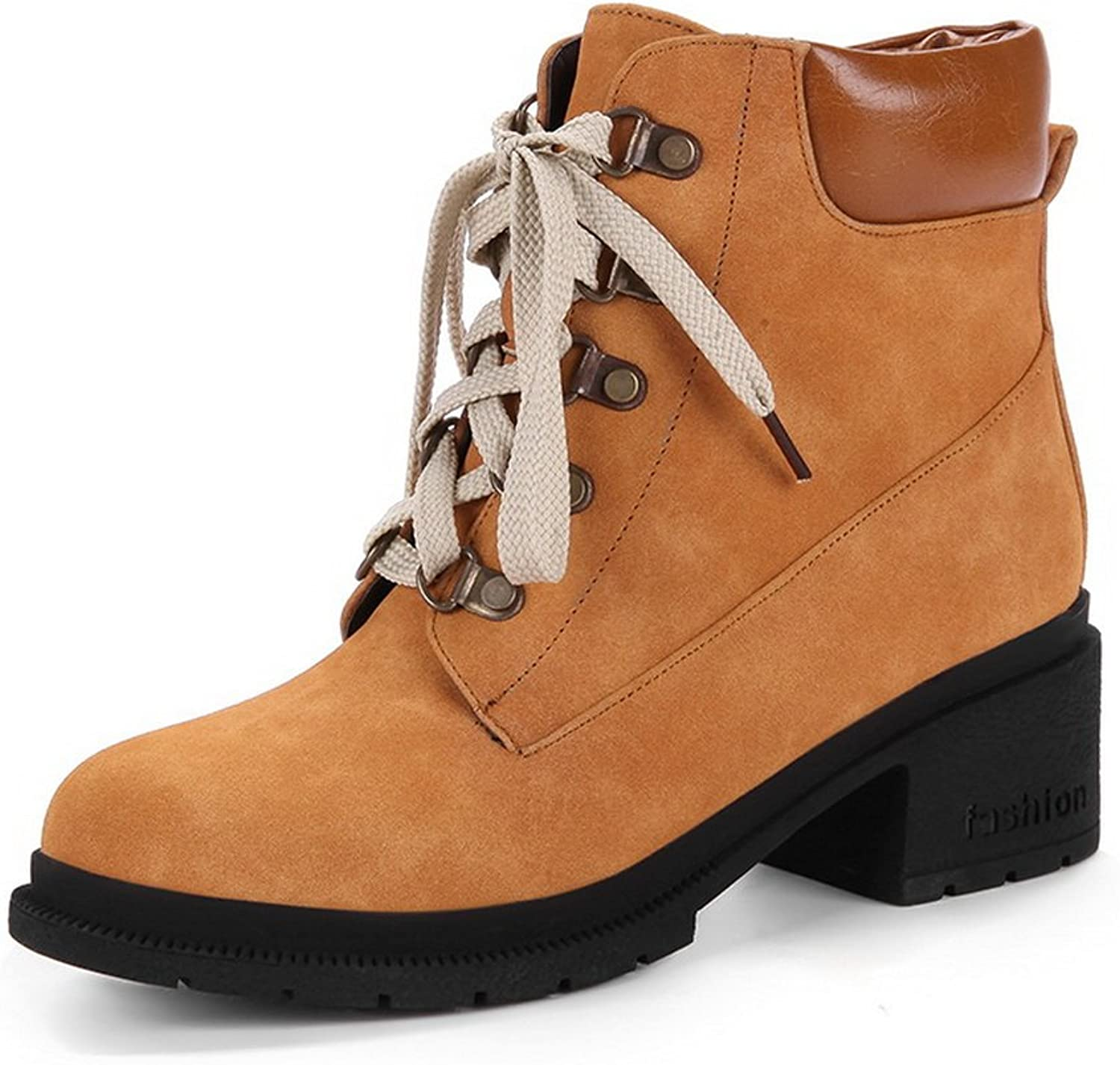 AandN Womens Boots Closed-Toe Lace-Up Adjustable-Strap High-Heel Warm Lining Water_Resistant Nubuck Bootie Soft-Toe Urethane Boots DKU01812