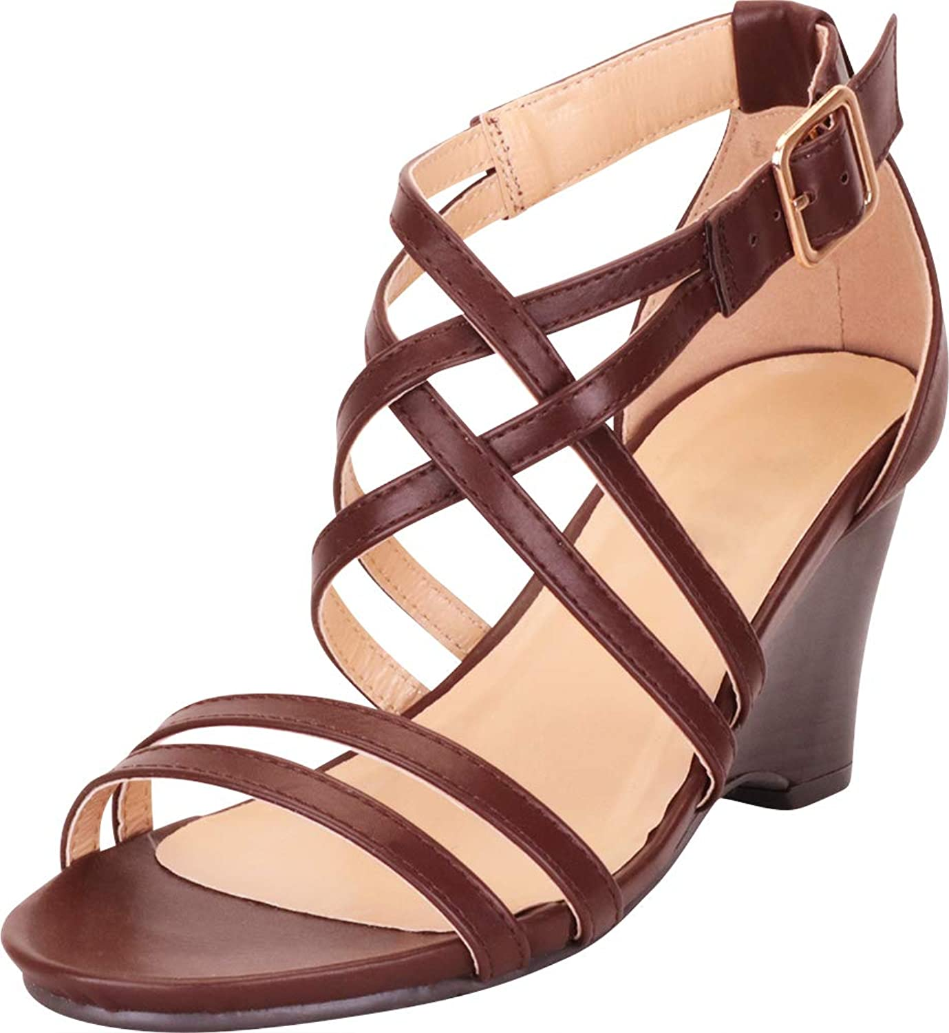 Cambridge Select Women's Open Toe Strappy Crisscross Lattice Wedge Sandal