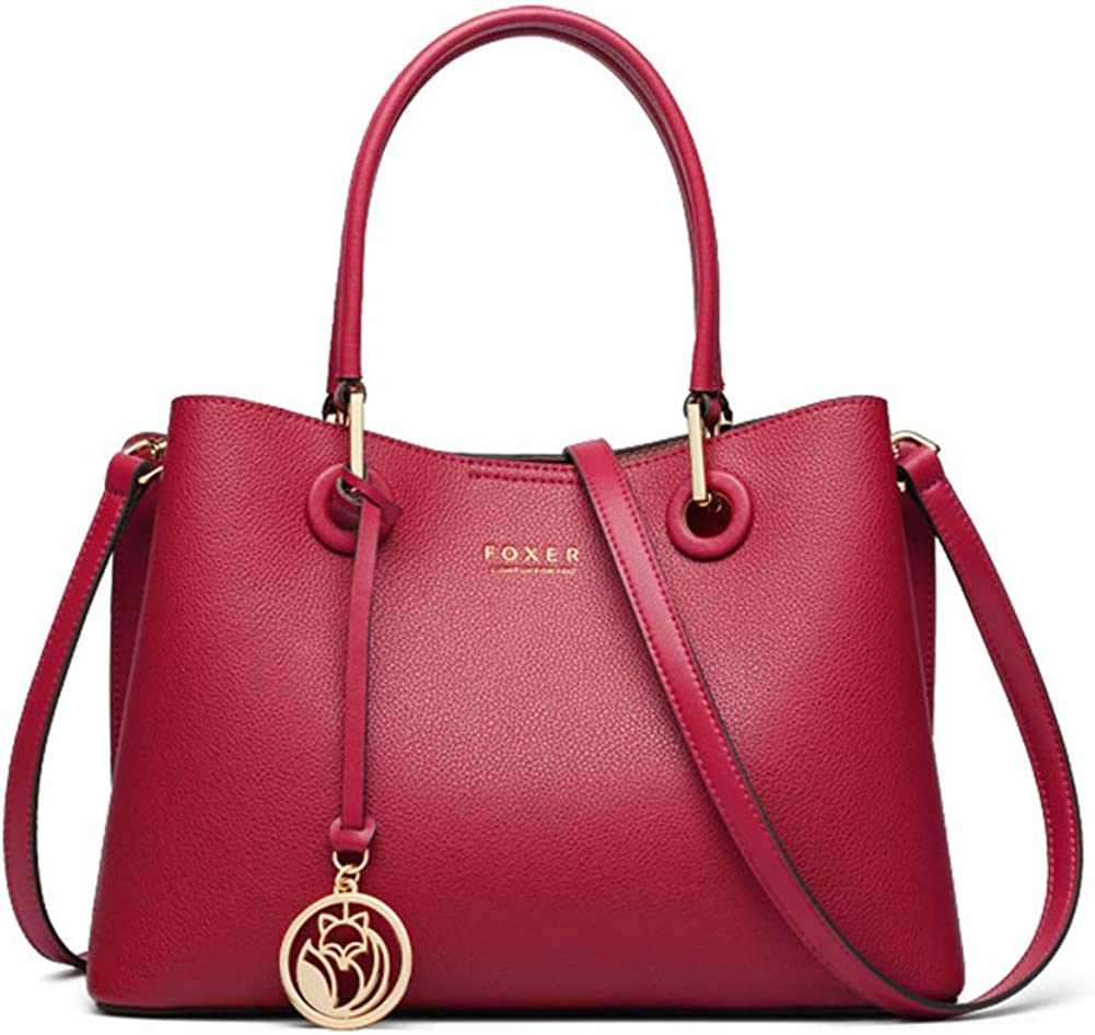 FOXER Super intense SALE Red Leather sold out Handbags for Women Ladies Top-han Cow