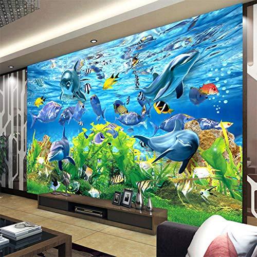 3D Wallpaper Fototapete Individuelles 3D Wallpaper 3D Custom Wallpaper Unterwasserwelt Meeresfische Fototapete Kinderzimmer Tv Hintergrund Aquarium Fototapete,400 * 280Cm