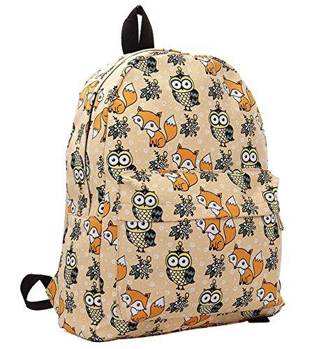 Minetom Schulrucksack Schulranzen Eule Fuchs Schultasche Rucksack Freizeitrucksack Daypacks Backpack Mädchen Damen Aprikose One Size