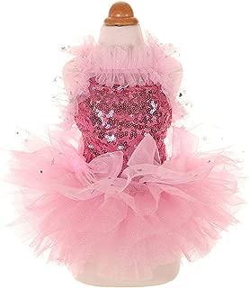 MaruPet Fashion Sweet Puppy Dog Bling Bling Printed Princess Skirt Pet Dog Lace Cake Camisole Tutu Dress