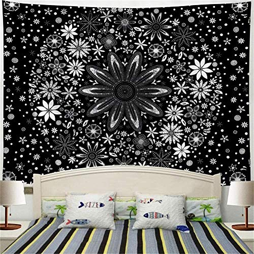 LDHHZ Tapiz Colgante de Pared Grande 3D Impresi¨n Multicolor Arte Hogar Dormitorio Decoraci¨n Tapices indiosMandala Flor Blanca 200x150cm