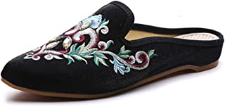 Redluck Women's Chinese Floral Embroidery Pointed-Toe Comfortable Satin Casual Mules Slippers Shoes