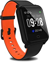 Fitpolo Fitness Tracker with Heart Rate Monitor, Smart Watch Waterproof Step Calorie Counter Pedometer Watches Activity Tracker for Women Men Kids (Black Orange)