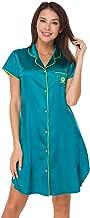 Women's Boyfriend Style Short Sleeve Silk Like Satin Sleepwear Long Sleep Shirt Loungwear Silk Sleep Shirt for Women S-XXL