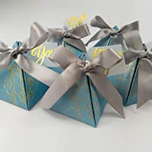 Triangle Wedding Party Favor Candy Box Chocolate Packaging Boxes Baby Shower Birthday Paper Gift Box Bag with Card and Ribbon (Blue)