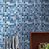 ENCOFT 24 Piezas Pegatinas de Azulejos, Autoadhesivo Azulejo Transferencias Pegatinas DIY, Azulejos Adhesivos PVC Impermeable, Pegatinas de Baldosas para Cocina Baño, Mosaico Azul 15x15cm