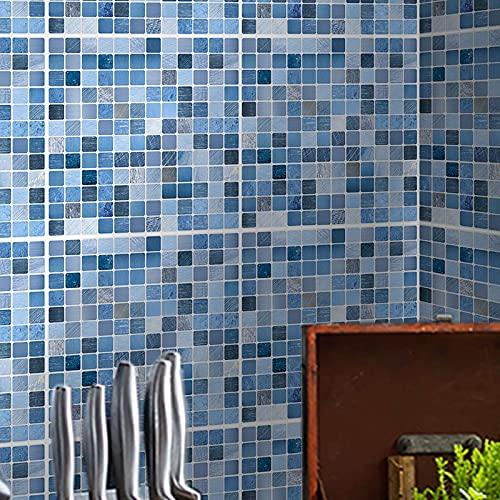 ENCOFT 24 Piezas Pegatinas de Azulejos, Autoadhesivo Azulejo Transferencias Pegatinas DIY, Azulejos Adhesivos PVC Impermeable, Pegatinas de Baldosas para Cocina Baño, Mosaico Azul 20x20cm