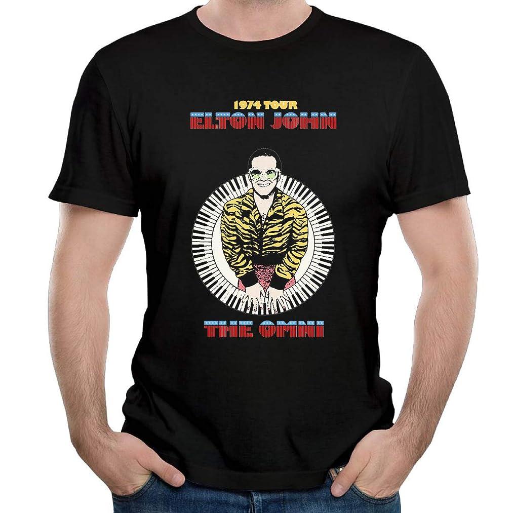 Ellton John 1974 Concert Poster Black Tshirt for Mens